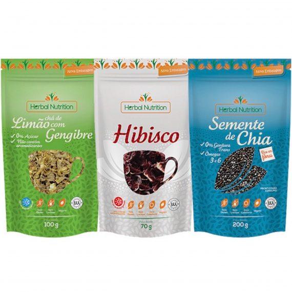 Semente de Chia + Chá de Limão dom Gengibre + Hibisco